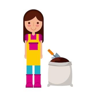 Jardinero mujer y suelo bolso icono