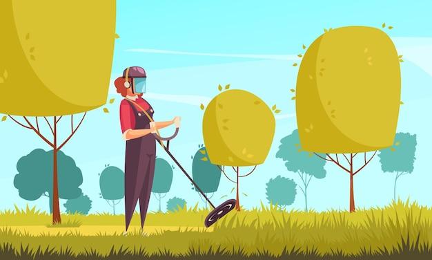 Jardinero en otoño con árboles y recorte de césped ilustración plana