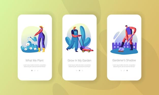 Jardinero que cultiva, cuida de las plantas en el concepto de jardín para sitio web o página web, personas que plantan, riegan, excavan el suelo, cortan el césped página de la aplicación móvil conjunto de pantalla a bordo ilustración de vector plano de dibujos animados