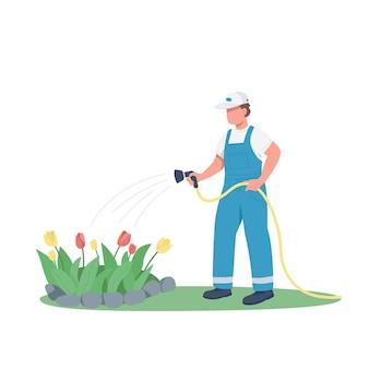 Jardinero riego macizo de flores color plano personaje sin rostro. hombre creciendo flores ilustración de dibujos animados aislado para diseño gráfico web y animación. servicio de horticultura, jardinería, paisajismo