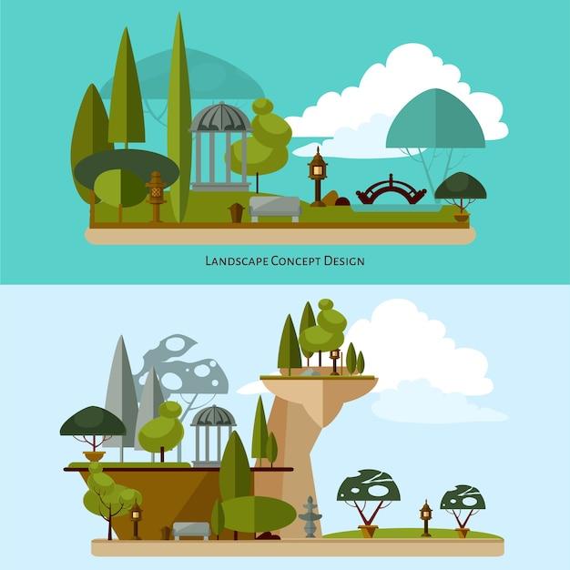 Jardines japoneses con árboles y puentes