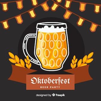 Jarra de cerveza de diseño plano oktoberfest