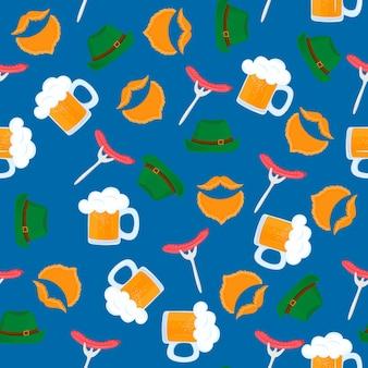 Jarra de cerveza con espuma. parrilla de salchichas en un tenedor. sombrero verde. repostería tradicional alemana. comida nacional al oktoberfest. patrón sin costuras barbas y bigote masculinos.