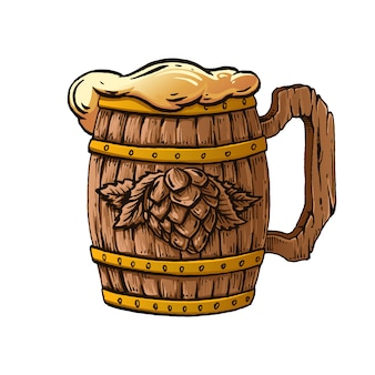 Jarra de cerveza de madera dibujado a mano ilustración.