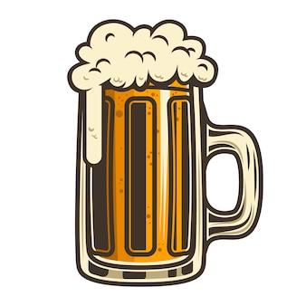 Jarra de cerveza sobre fondo blanco. elemento para cartel, tarjeta, emblema, logo. ilustración