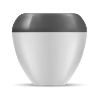 Jarra cosmética. recipiente de crema en blanco blanco. redondo
