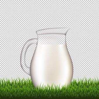 Jarra con fondo transparente de borde de hierba con malla de degradado, ilustración