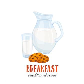 Jarra de leche y vaso con galleta