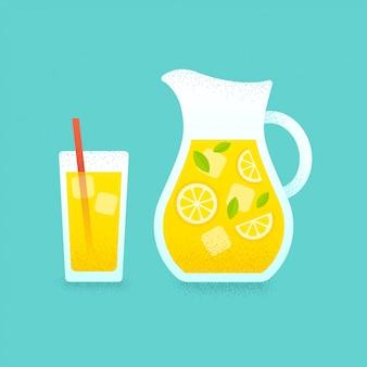 Jarra de limonada y vaso