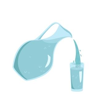 Jarra de vidrio con agua que se vierte en un vaso.