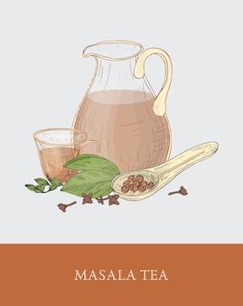 Jarra de vidrio, taza de masala chai o té indio con especias tradicionales, cuchara, cardamomo y clavo en gris