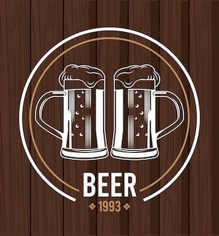 Jarras de cerveza bebidas en madera, diseño de ilustraciones