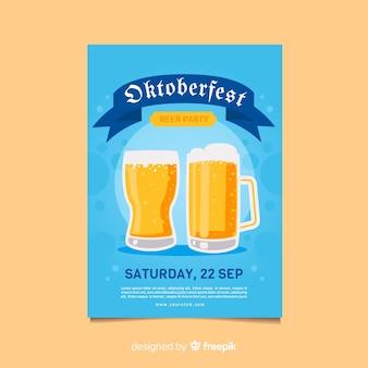 Jarras de cerveza diseño plano oktoberfest