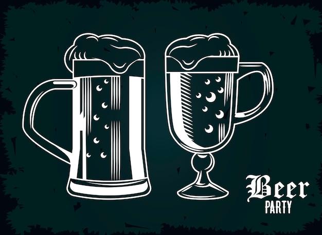 Jarras de cerveza y tazas con diseño de ilustración de cartel de lúpulo