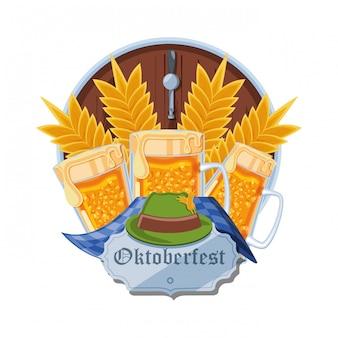 Jarras cervezas celebración del oktoberfest