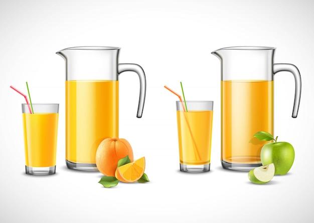 Jarras con jugo de manzana y naranja