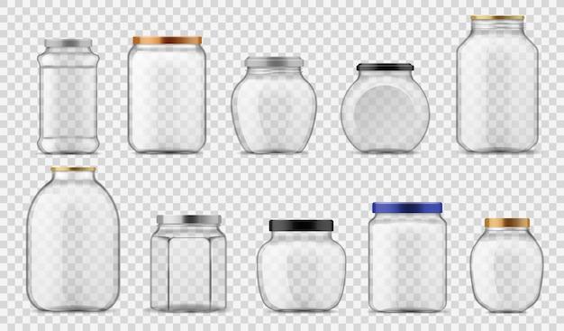 Jarras de vidrio. envases transparentes vacíos de diferentes tamaños con metal y plástico, con tapones de rosca para enlatado y almacenamiento de alimentos, vector realista sobre fondo transparente con plantilla de sombra de reflexión