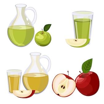 Jarro lleno de zumo de manzana aislado en el vector blanco.