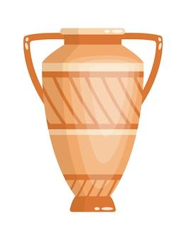 Jarrón griego de estilo antiguo como plantilla para el interior. urna de cerámica de la cultura de grecia en color y forma tradicionales. ánfora de la antigüedad griega.