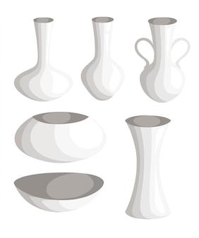 Jarrón y jarra de cerámica decorados a mano. colección de estilo de hermosos jarrones modernos y coloridos para la página de su sitio web y la aplicación móvil