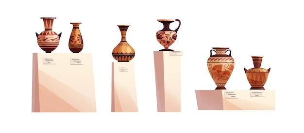 Jarrones griegos antiguos con decoración concepto de museo antigua vasija de barro tradicional o olla para vino