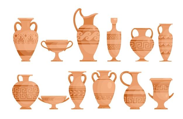 Jarrones griegos ilustraciones planas. ánfora de cerámica antigua. alfarero de la antigua grecia con adorno