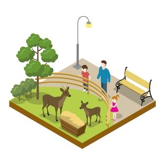 Jaula con icono 3d isométrico de ciervos