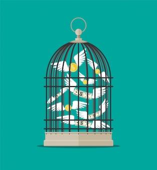 Jaula de pájaros con dinero volando