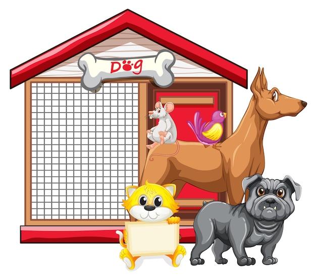 Jaula de perro con dibujos animados de grupo animal aislado