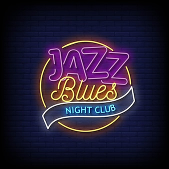 Jazz blues night club letreros neón estilo texto vector