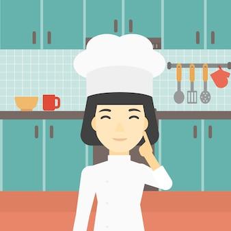 Jefe de cocina que tiene la idea de ilustración vectorial.