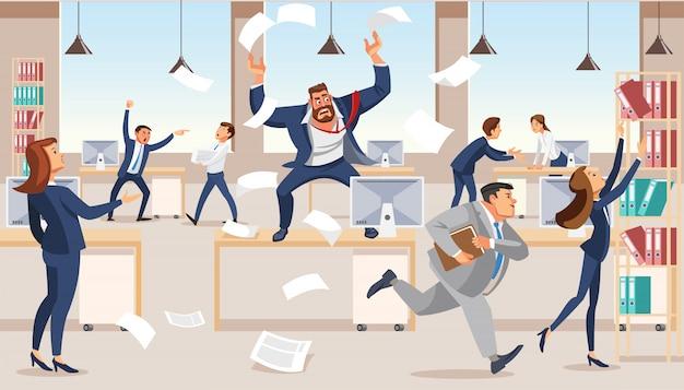 Jefe enojado grita en el caos a sus subordinados