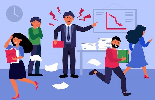 Jefe enojado gritando a la gente en la oficina