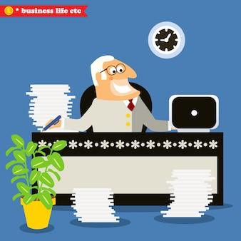 Jefe estadounidense en el escritorio