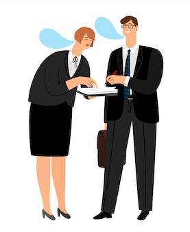 Jefe firma contrato. secretario trajo documentos para la firma