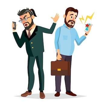 Jefe gritando en la ilustración del teléfono