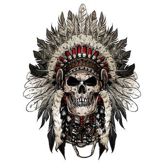 Jefe indio del cráneo