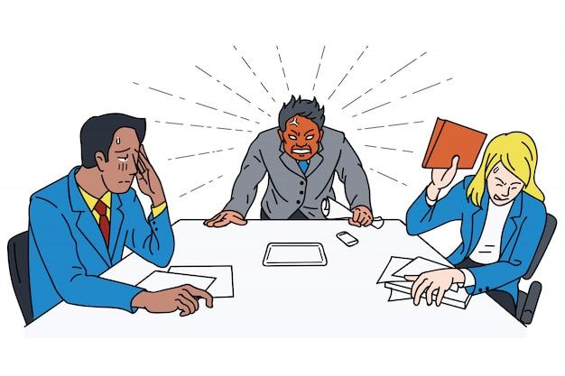 Jefe de ira en la mesa de reunión