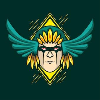 Jefe jefe guerrero nativo ilustración