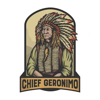 El jefe jerónimo como líder de la india en la pose de firma.