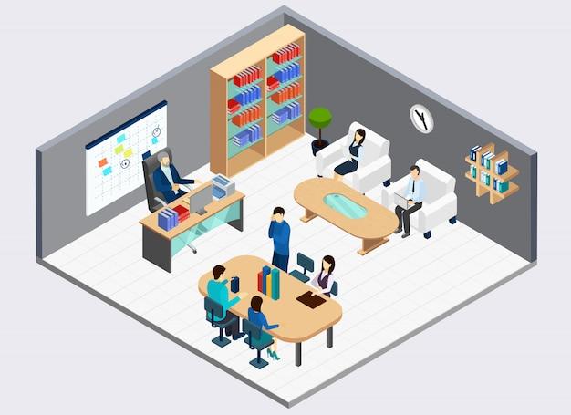 Jefe en el lugar de trabajo y empleados de oficina durante la reunión del departamento