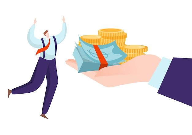 Jefe de negocios dar salario de dinero al empleado