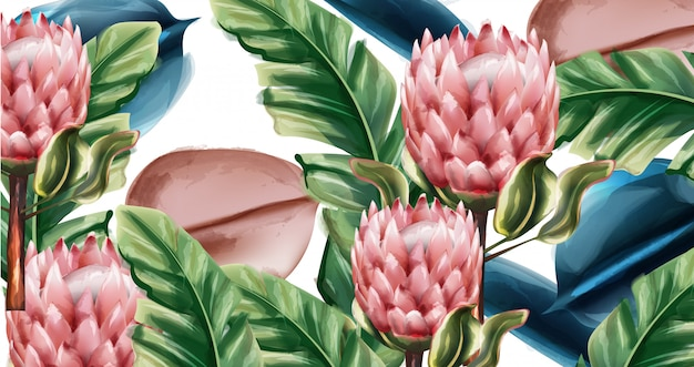 Jengibre flores tropico acuarela