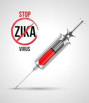 Jeringa con parada virus zika