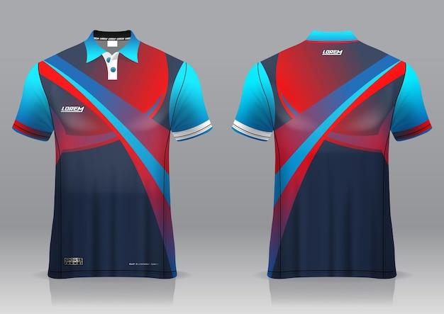 Jersey de golf, vista frontal y posterior, diseño deportivo y listo para ser impreso en tela y texlite
