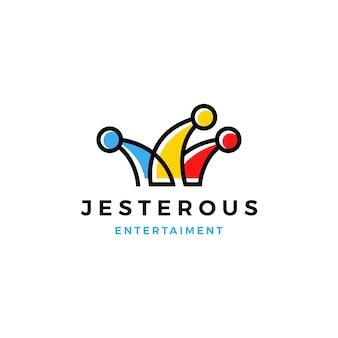 Jester hat logo vector icono línea contorno monoline