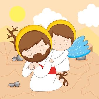 Jesucristo y ángel en la ilustración de dibujos animados religiosos del desierto