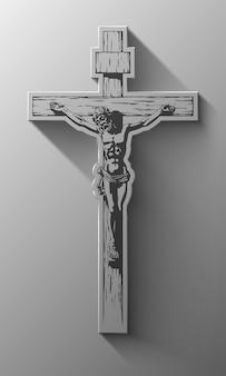 Jesucristo, crucifijo, bendición, cruz, cristianismo, vector