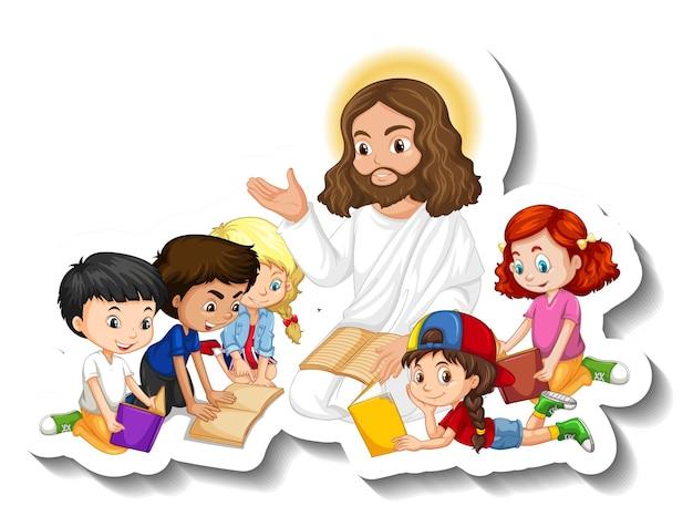 Jesucristo con la etiqueta engomada del grupo de niños sobre fondo blanco.