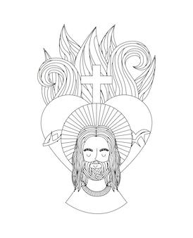 Jesucristo, hombre, y, sagrado, corazón, icono